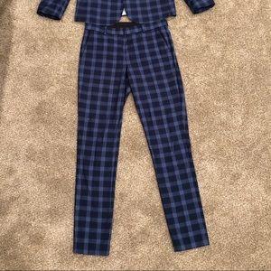 wedding skinny suit pants in tonal blue check